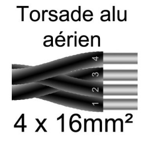 CABLE AERIEN ALU TORSADE 4X16 T500